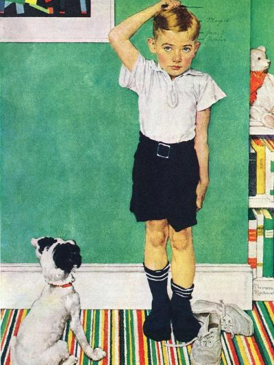 He?s Going to Be Taller Than Dad (or Boy Measuring Himself on Wall)-Norman Rockwell-Giclee Print