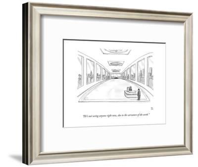 """He's not seeing anyone right now, due to the curvature of the earth."" - New Yorker Cartoon-Paul Noth-Framed Premium Giclee Print"