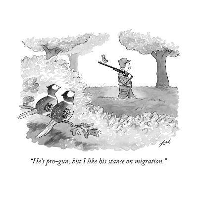 """He's pro-gun, but I like his stance on migration."" - New Yorker Cartoon-Tom Toro-Premium Giclee Print"