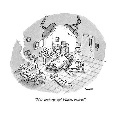 """He's waking up! Places, people!"" - New Yorker Cartoon--Premium Giclee Print"
