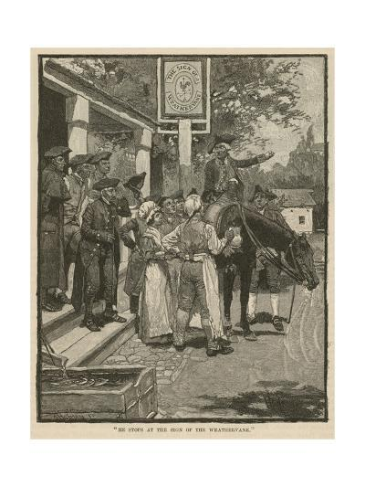 """""""He Stops at the Sign of the Weathervane""""-Howard Pyle-Giclee Print"""