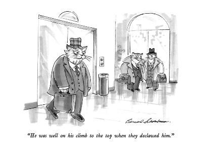 """He was well on his climb to the top when they declawed him."" - New Yorker Cartoon-Bernard Schoenbaum-Premium Giclee Print"