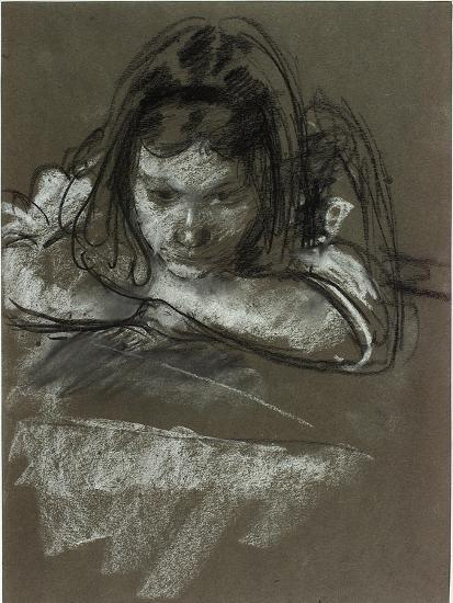 Head and Shoulders of a Girl at a Table-Henry Tonks-Giclee Print