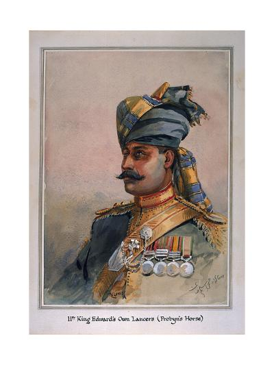 Head and Shoulders Portrait of Risaldar, Durrani, Illustration for 'Armies of India', by Major…-Alfred Crowdy Lovett-Giclee Print