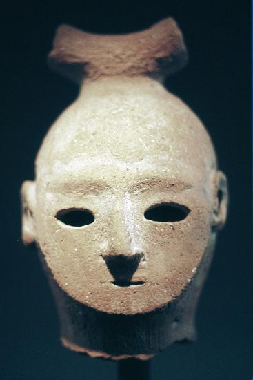 Head of a Haniwa tomb figure, Japanese, Kofun period, 6th century. Artist: Unknown-Unknown-Giclee Print