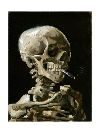 Head of a Skeleton with a Burning Cigarette-Vincent van Gogh-Giclee Print