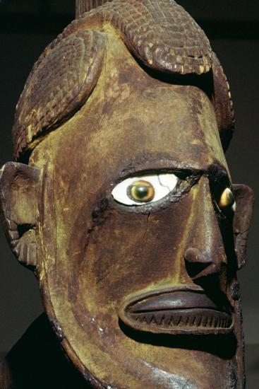 Head of a wooden figure from New Ireland, Melanesian. Artist: Unknown-Unknown-Giclee Print