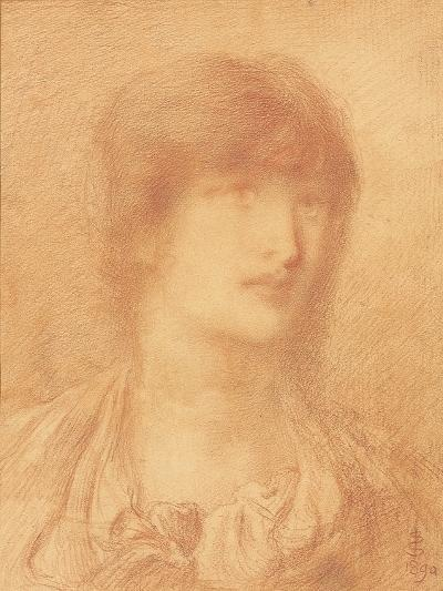 Head of a Young Girl, 1890 (Red Chalk on Buff Paper)-Simeon Solomon-Giclee Print