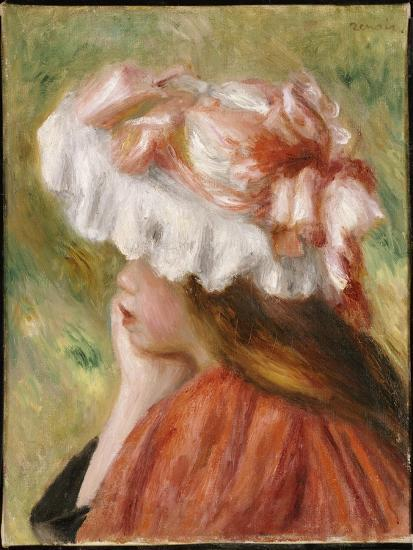 Head of a Young Girl in a Red Hat-Pierre-Auguste Renoir-Giclee Print