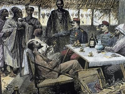 Head of an African Tribe Interviewing with the French--Giclee Print