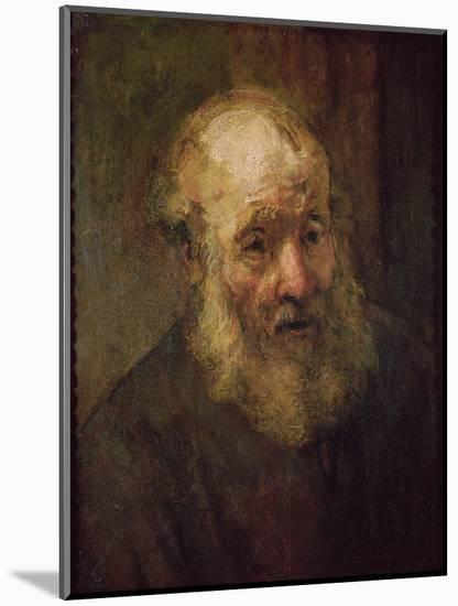 Head of an Old Man, circa 1650-Rembrandt van Rijn-Mounted Premium Giclee Print