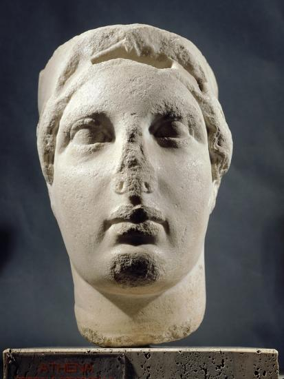 Head of Athena Sculpture Unearthed in Apulia, Italy, Magna Graecia, 5th Century BC--Giclee Print