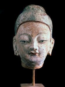 Head of Buddha, (From the Ruins of Old Idikutshari Near Turfa), 8th-9th Century