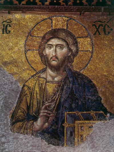 Head of Christ, Mosaic from Apse at Haghia Sophia Istanbul, 12th century AD--Photographic Print
