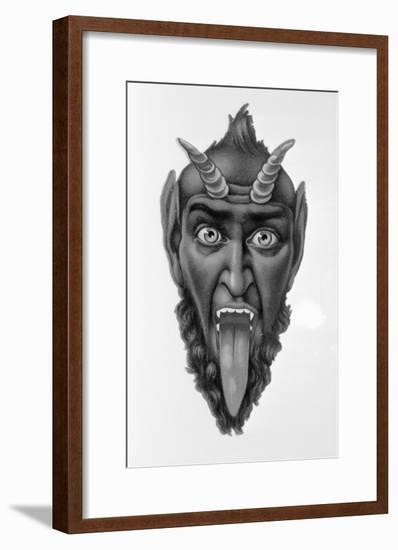 Head of Devil with Tongue Out--Framed Giclee Print