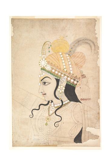 Head of Krishna: Cartoon for a Mural of the Raslila, c.1800-Indian School-Giclee Print