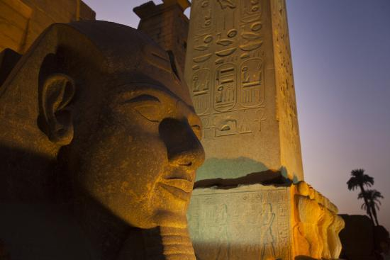 Head of Ramses Ll at Entrance to Luxor Temple-Michael Melford-Photographic Print