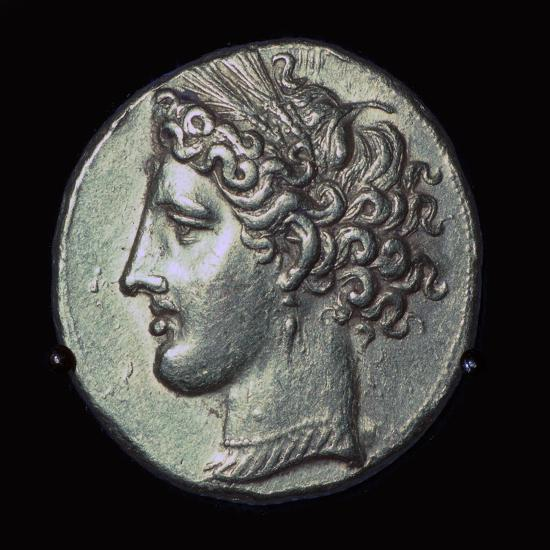 Head of Tanit on a gold tridrachm. Artist: Unknown-Unknown-Giclee Print