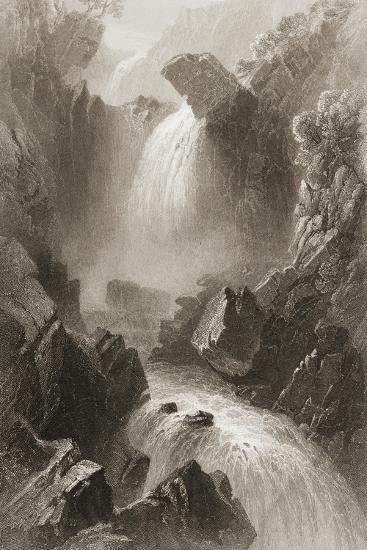 Head of the Devil's Glen, County Wicklow, Ireland, from 'scenery and Antiquities of Ireland' by?-William Henry Bartlett-Giclee Print