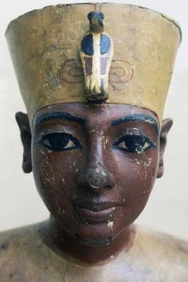 Head of Tutankhamun in Painted Wood, from Tomb of Tutankhamun--Giclee Print