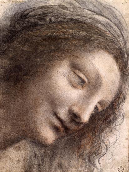 Head of Virgin, 1508-1512-Leonardo Da Vinci-Premium Giclee Print
