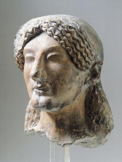 Head, Perhaps of Kore, Terracotta Sculpture from Agrigento, Sicily, Italy, 5th Century BC--Giclee Print