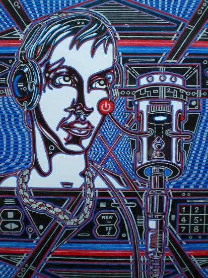 Head Phones-Abstract Graffiti-Giclee Print