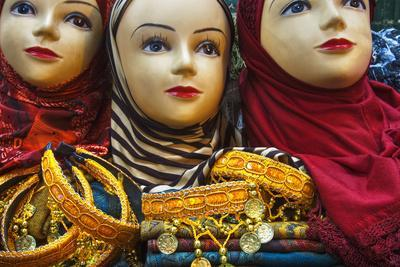 Head Scarves for Sale in the Muslim Quarter-Jon Hicks-Photographic Print