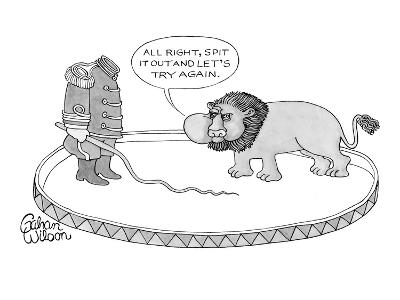Headless lion tamer in circus ring with bull whip tells lion (from within ? - New Yorker Cartoon-Gahan Wilson-Premium Giclee Print