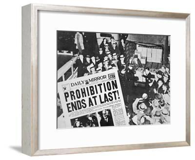 Headline Declaring the End of Prohibition, 6th December, 1933