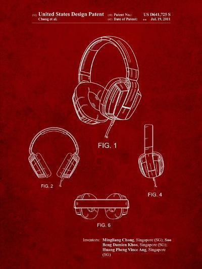 Headphones Patent-Cole Borders-Art Print