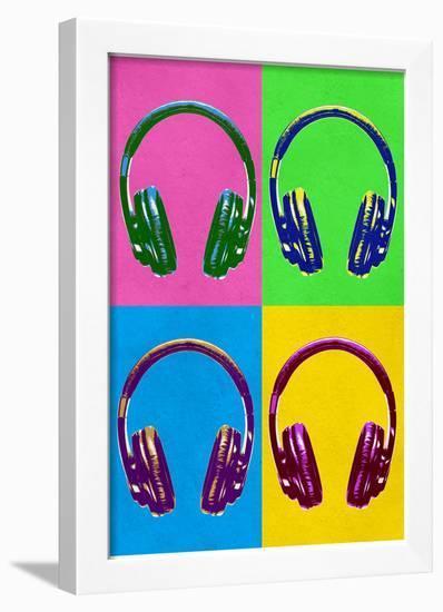 Headphones Pop Art Poster--Framed Poster