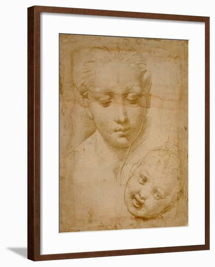 Heads of the Virgin and Child, 1508-1510, Silverpoint on Orange-Pink Paper-Raphael-Framed Giclee Print