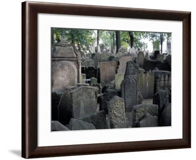Headstones in the Graveyard of the Jewish Cemetery, Josefov, Prague, Czech Republic-Richard Nebesky-Framed Photographic Print