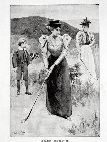 'Healthy Recreation'; two women golfers and their caddy, c1900-Unknown-Giclee Print
