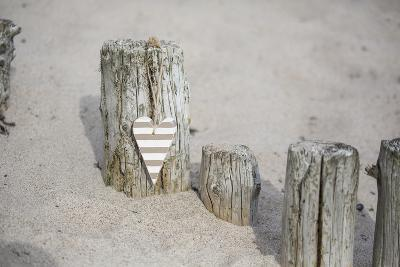 Heart Charms, Wooden Pole, Beach, Icon, Love-Andrea Haase-Photographic Print