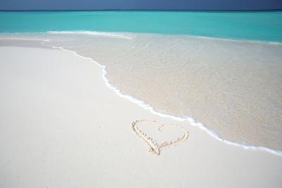 Heart Drawn on an Empty Tropical Beach, Maldives, Indian Ocean, Asia-Sakis-Photographic Print