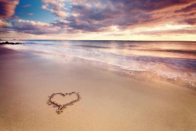 Heart on the Beach-Elusive Photography-Photographic Print
