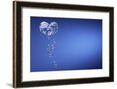 Heart Shape Formed with Bubbles-Peter Frank-Framed Photographic Print