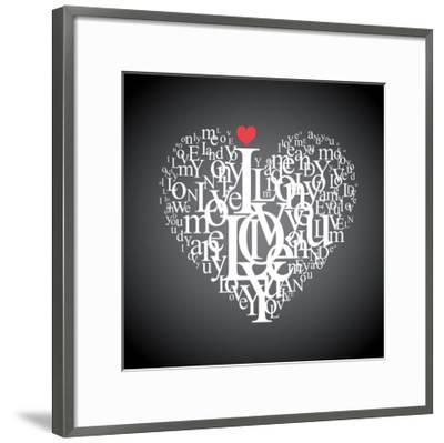 Heart Shape From Letters - Typographic Composition-feoris-Framed Art Print