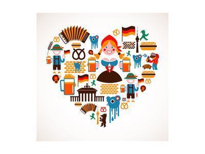 Heart Shape With Germany Icons-Marish-Art Print
