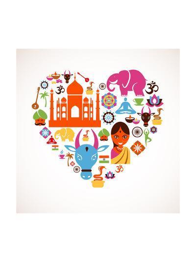 Heart With India Icons-Marish-Art Print