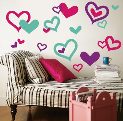 Hearts - Aqua, Bright Pink, Purple--Wall Decal