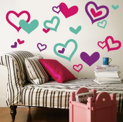 Hearts - Aqua, Bright Pink, Purple