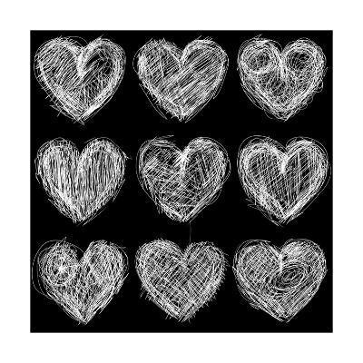 Hearts Chalkboard, Love Background and Texture-homobibens-Art Print