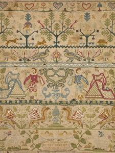 Hearts, Shrubs, Birds, And Men in Dress with an Inscription at the Bottom Sampler