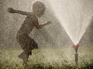A Boy Plays in a Sprinkler on a Hot Summer Day by Heather Perry