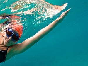 A Woman Open Water Swimming, Viewed from Underneath by Heather Perry