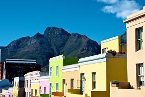 Table Mountain Looms Above Colorful Houses in the Bo Kaap District of Cape Town by Heather Perry