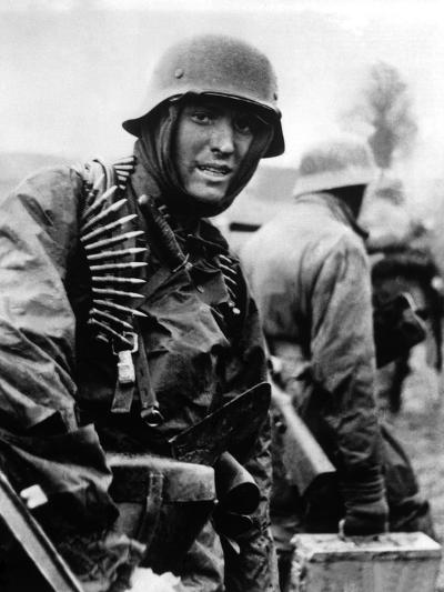 Heavily Armed German Soldiers Advancing in Belgium Through Thin American Lines--Photo